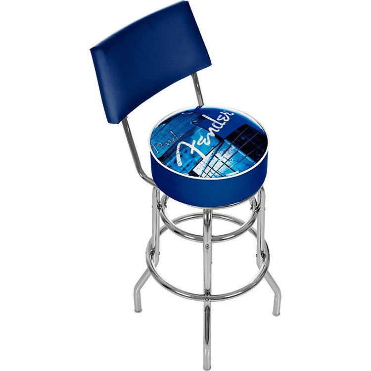 Fender Stacked 30in Barstool with Back Blue