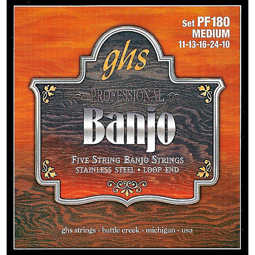 GHS Stainless Steel 5-String Banjo Strings - Medium