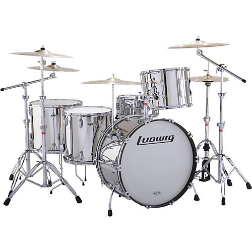ludwig stainless steel limited edition 5 piece drum set with hardware musician 39 s friend. Black Bedroom Furniture Sets. Home Design Ideas