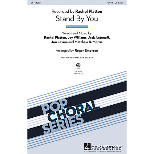 Hal Leonard Stand By You SATB by Rachel Platten arranged by Roger Emerson