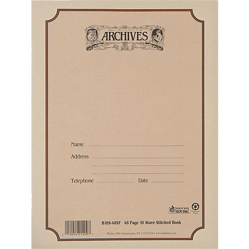 Archives Standard Bound Manuscript Paper 10 Staves 48 Sheets