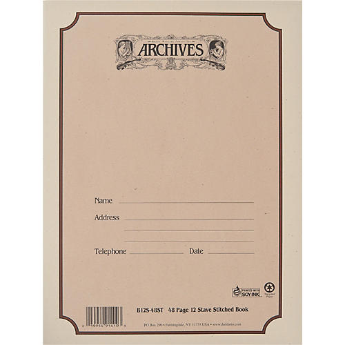 Archives Standard Bound Manuscript Paper 12 Staves 48 Sheets