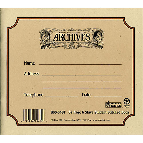 Archives Standard Bound Manuscript Paper 6 Staves 24 Sheets