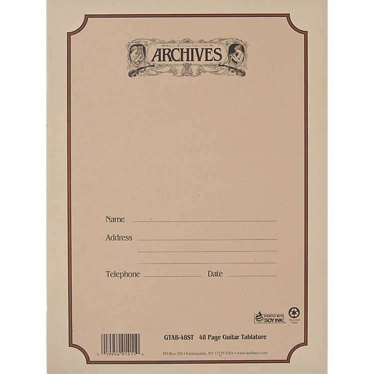 Archives Standard Bound Manuscript Paper Guitar Tablature