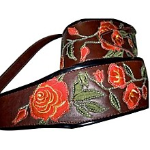 "Jodi Head Stella Rose Leather 3"" Wide Guitar Strap Brown"