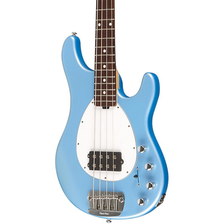 Music Man Sterlin 4-Strin Rosewood Neck Electric Bass Sky Blue White Pickguard