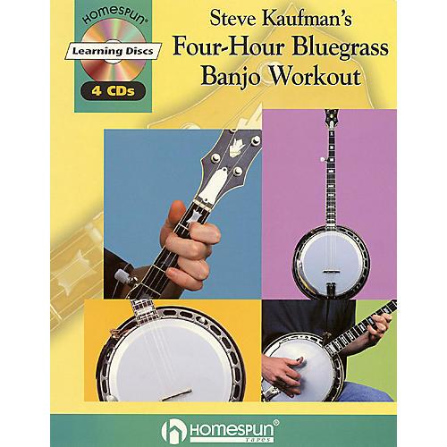 Homespun Steve Kaufman's Four-Hour Bluegrass Banjo Workout Homespun Tapes Series Softcover with CD-thumbnail