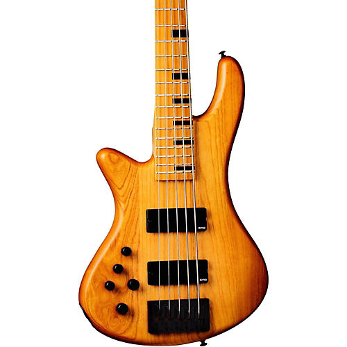 Schecter Guitar Research Stiletto-5 Session 5 String Left Handed Electric Bass Guitar Aged Natural Satin