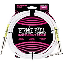 Ernie Ball Straight-Angle Instrument Cable - White 10 ft.