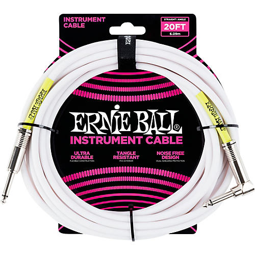 Ernie Ball Straight-Angle Instrument Cable - White-thumbnail