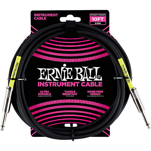 Ernie Ball Straight Instrument Cable - Black-thumbnail