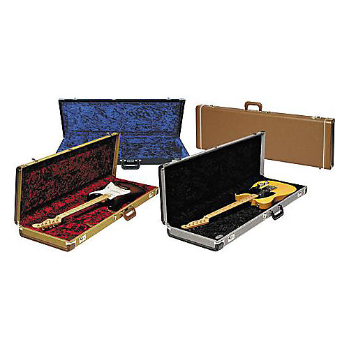 Fender Strat/Tele Hardshell Case Gold Tweed Red Plush Interior