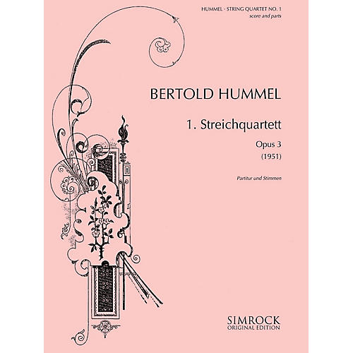 Simrock String Quartet No, 1, Op. 3 (1951) Boosey & Hawkes Chamber Music Series Composed by Bertold Hummel-thumbnail