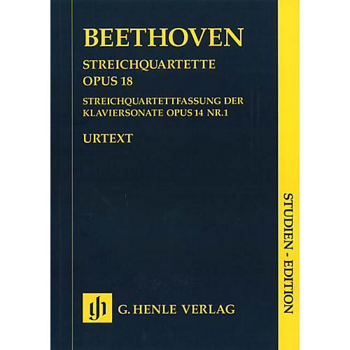 G. Henle Verlag String Quartets Op. 18 and String Quartet Version of the Piano Sonata Op. 14 Henle Study Scores by Beethoven-thumbnail