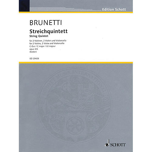 Schott String Quintet Op. 3 No. 6 in C Major (Score and Parts) String Series Composed by Gaetano Brunetti-thumbnail