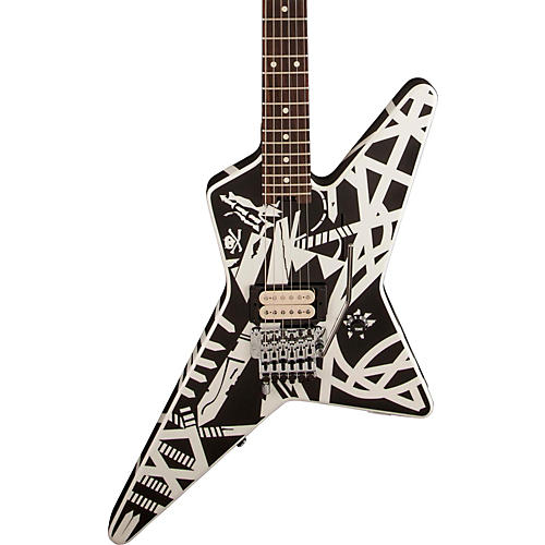 EVH Stripe Series Star Electric Guitar Black and White Stripes-thumbnail
