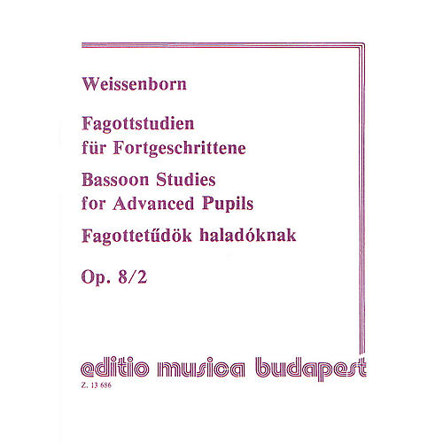 Editio Musica Budapest Studies for Bassoon, Op. 8 - Volume 2 EMB Series by Julius Weissenborn-thumbnail