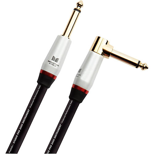Monster Cable Studio Pro 2000 1/4 Inch  Angled to Straight Instrument Cable 21 ft.