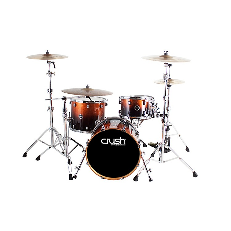 Crush Drums & Percussion Sublime E3 Maple 4-Piece Shell Pack High Gloss Lacquer with 20 Inch Bass Drum Copper Sparkle Black Fade