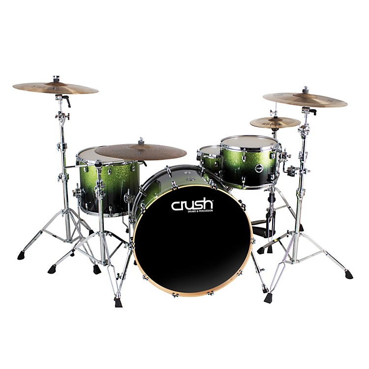 Crush Drums & Percussion Sublime E3 Maple 4-Piece Shell Pack High Gloss Lacquer with 26 Inch Bass Drum Green Sparkle Black Fade