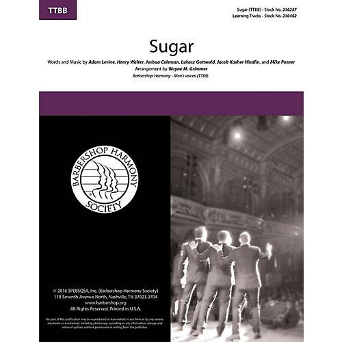 Barbershop Harmony Society Sugar TTBB A Cappella arranged by Wayne Grimmer