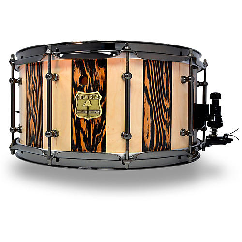 OUTLAW DRUMS Suite Stripe Douglas Fir and Maple Stave Snare Drum with Black Chrome Hardware-thumbnail
