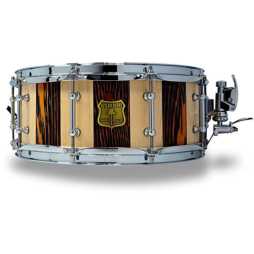 OUTLAW DRUMS Suite Stripe Douglas Fir and Maple Stave Snare Drum with Chrome Hardware-thumbnail