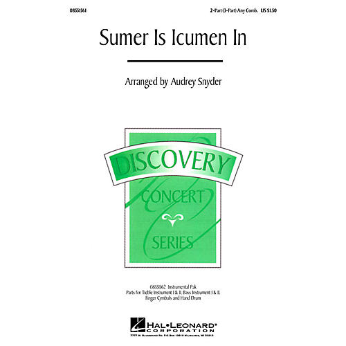 Hal Leonard Sumer Is Icumen In (2-Part (opt. 3-Part)) 2-Part/3-Part any combination arranged by Audrey Snyder-thumbnail