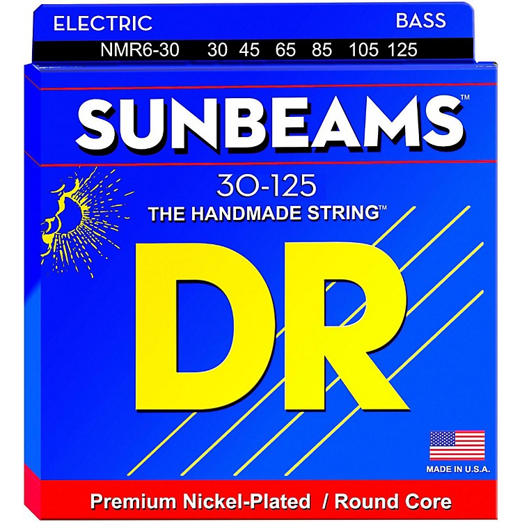 DR Strings Sunbeams NMR6-30 Medium 6-String Strings Bass Strings .125 Low B
