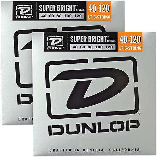 Dunlop Super Bright Nickel Light 5-String Bass Guitar Strings (4-120) 2-Pack-thumbnail