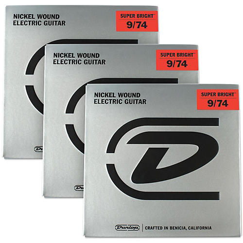 Dunlop Super Bright Nickel Wound 8-String Electric Guitar Strings (9-74) 3-Pack-thumbnail