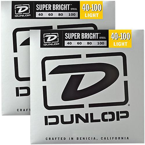 Dunlop Super Bright Steel Light 4-String Bass Guitar Strings (40-100) 2-Pack
