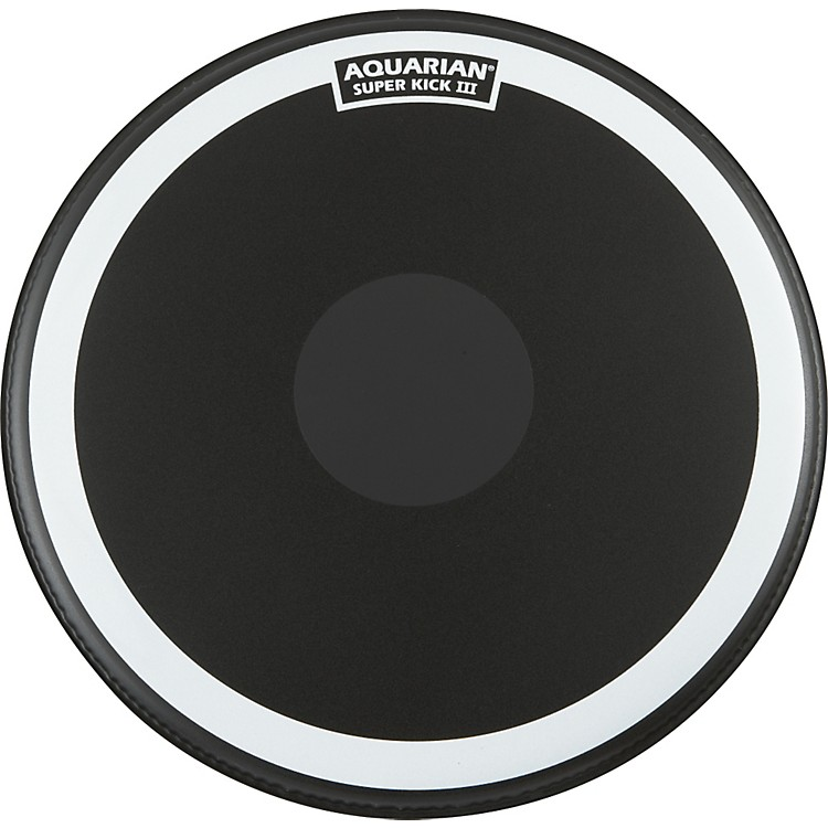 Aquarian Super-Kick III Black Drumhead 22 inch