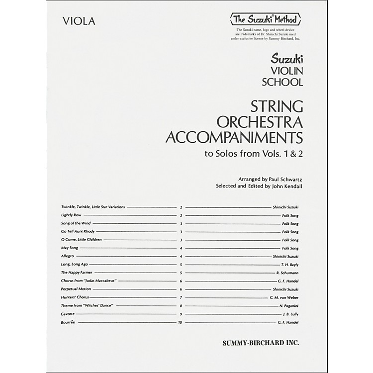 AlfredSuzuki String Orchestra Accompaniments to Solos from Volumes 1 & 2 for Viola Book