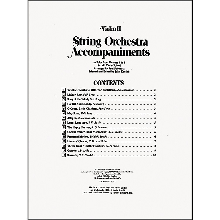 AlfredSuzuki String Orchestra Accompaniments to Solos from Volumes 1 & 2 for Violin 2 Book
