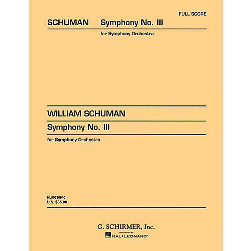 G. Schirmer Symphony No. 3 (Study Score No. 27) Study Score Series Composed by William Schuman-thumbnail