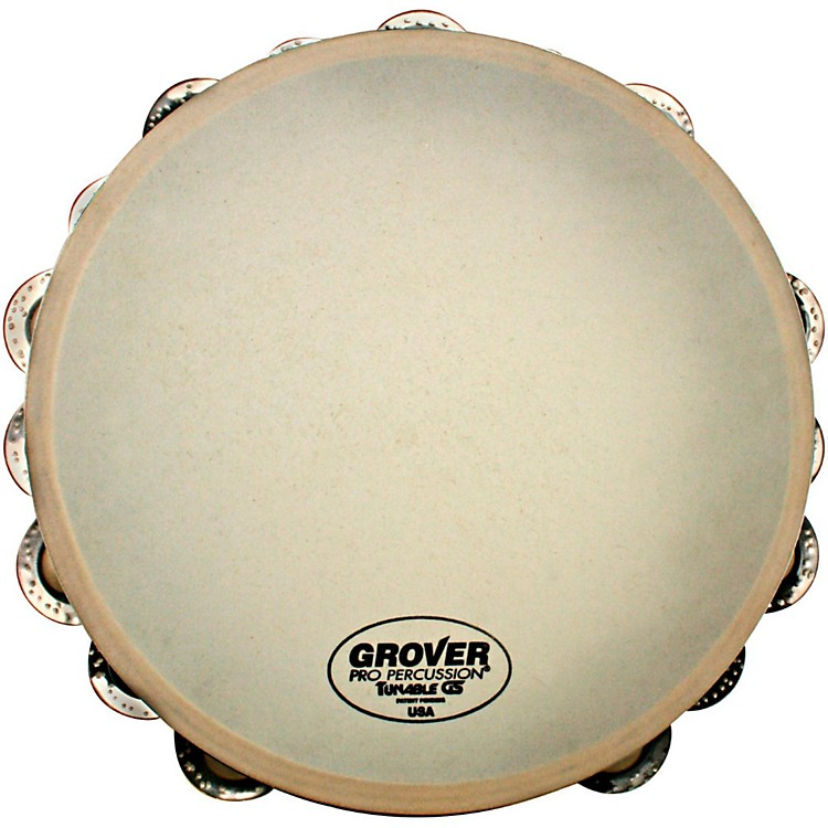 Grover Pro Synthetic Head Tambourine 10 inch Double Row German Silver Jingles