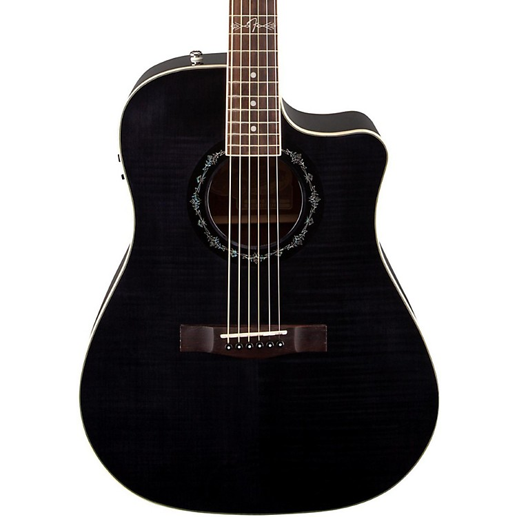 Fender T-Bucket 300 CE Cutaway Acoustic-Electric Dreadnought Guitar Transparent Black