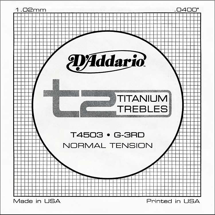 D'Addario T4503 T2 Titanium Normal Single Guitar String