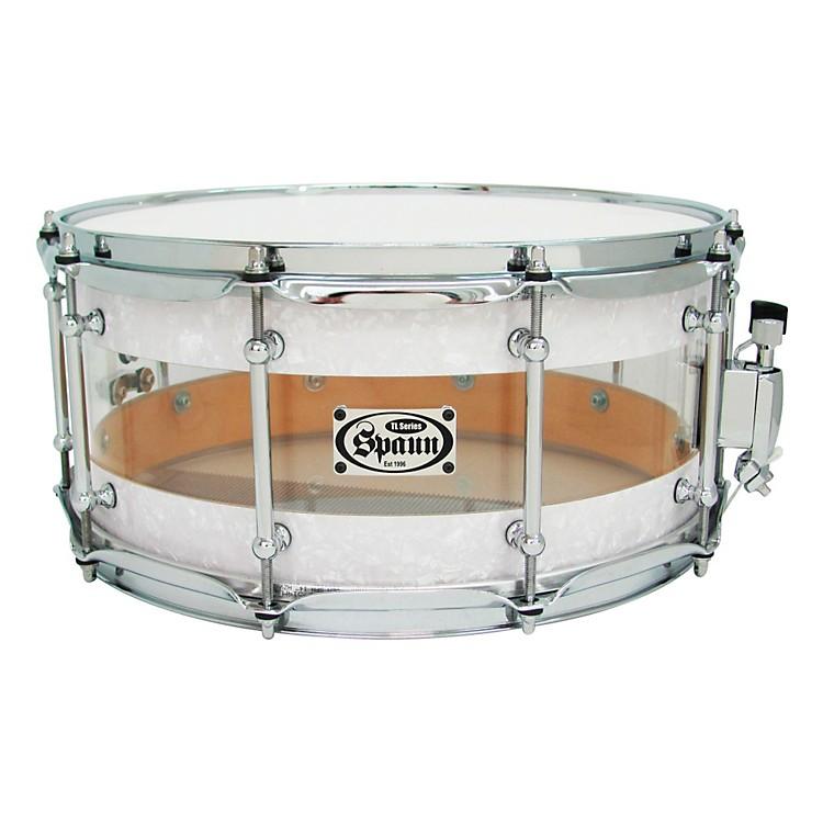 SpaunTL USA Hybrid SnareWhite Pearl & Clear Acrylic6.5x14
