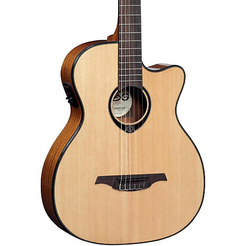 Lag Guitars TN66ACE Nylon-String Auditorium Cutaway Acoustic-Electric Guitar-thumbnail