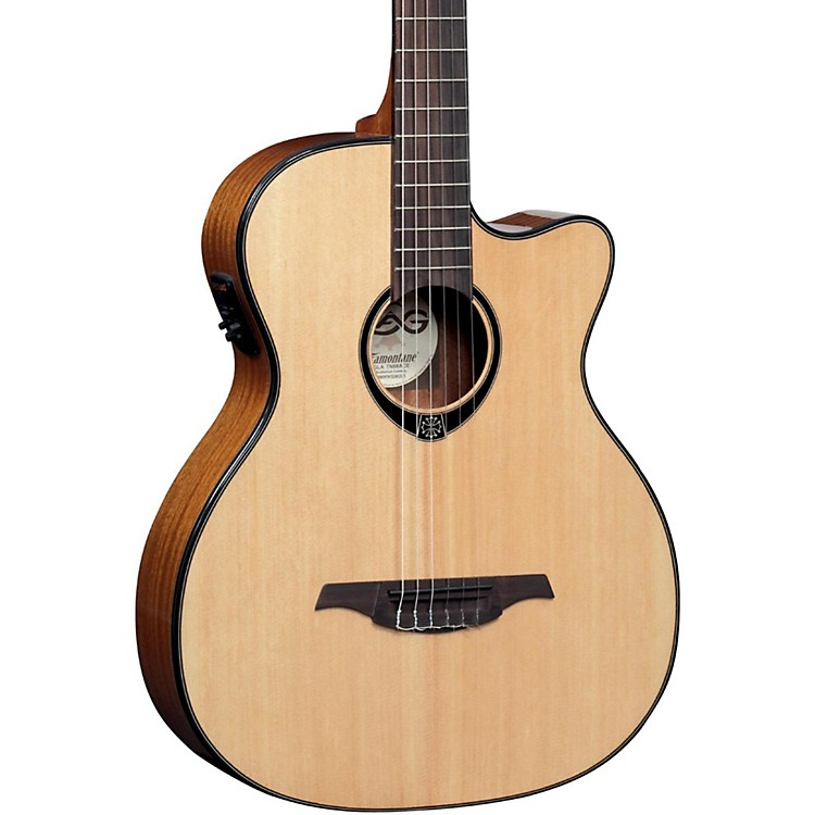 Lag Guitars TN66ACE Nylon-String Auditorium Cutaway Acoustic-Electric Guitar Natural