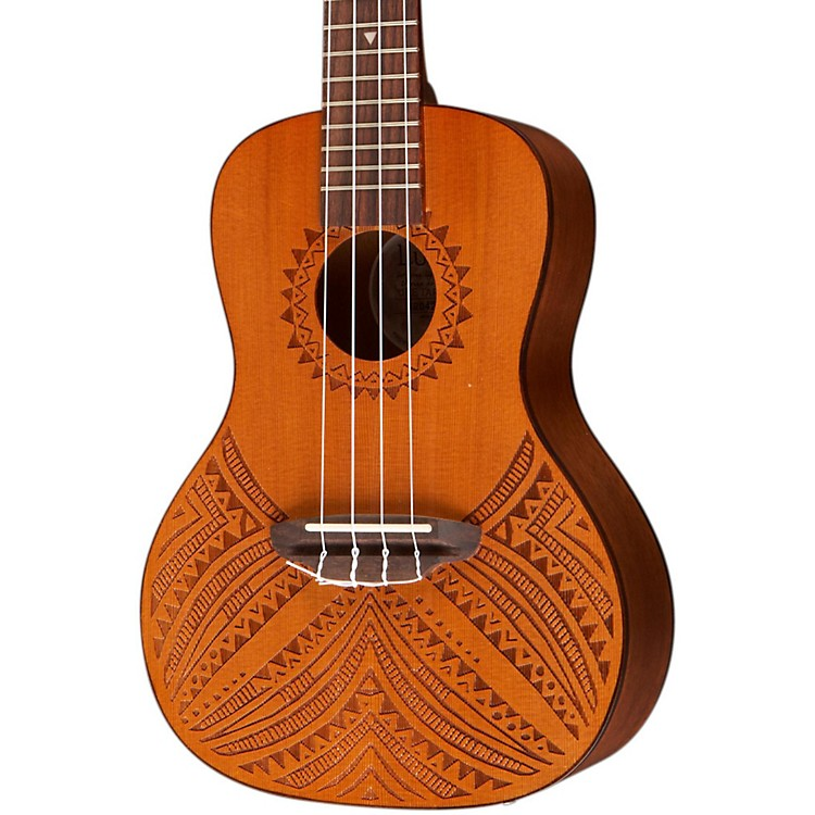 Luna Guitars Tapa Cedar Acoustic-Electric Ukulele Natural Tapa Design