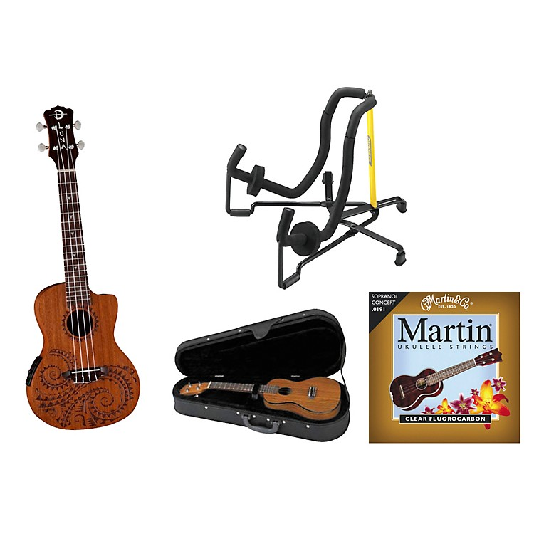 Luna Guitars Tattoo Acoustic-Electric Concert Ukulele Bundle Mahogany with Tattoo laser etch and Satin Finish
