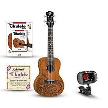 Luna Guitars Tattoo Concert Mahogany Ukulele Bundle