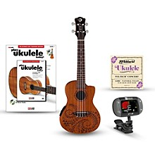 Luna Guitars Tattoo Concert Mahogany Ukulele with Preamp Bundle