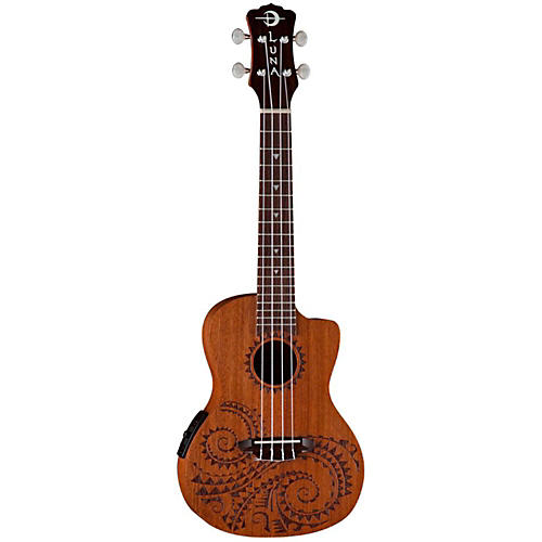 Luna Guitars Tattoo Concert Ukulele with Preamp Mahogany with Tattoo laser etch and Satin Finish