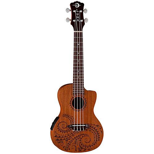 luna guitars tattoo mahogany concert acoustic electric