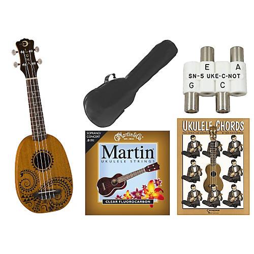 Luna Guitars Tattoo Pineapple Soprano Ukulele Bundle Mahogany