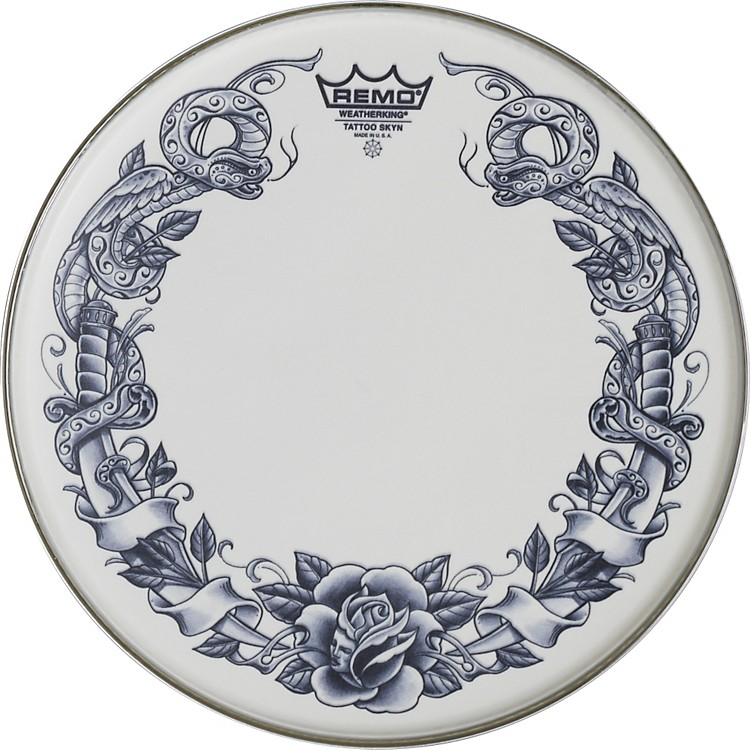 Remo Tattoo Skyn Drumhead 14 inch Rock & Roses Graphic